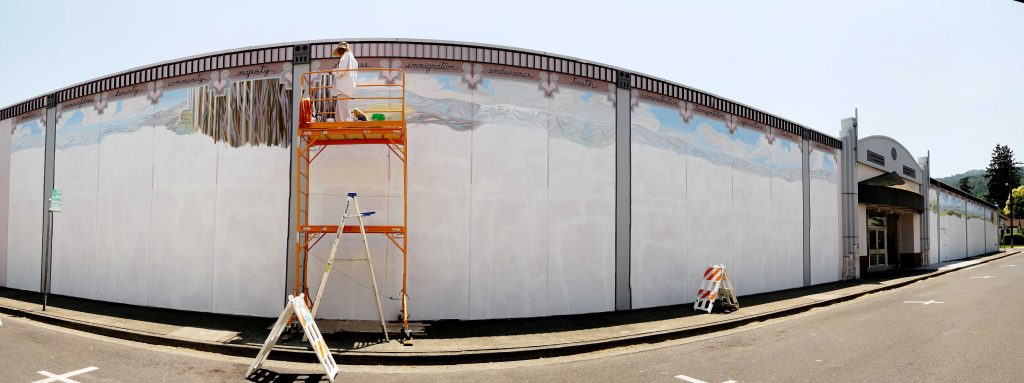 The Conference Center wall, at the beginning of the mural: double-level scaffolding!